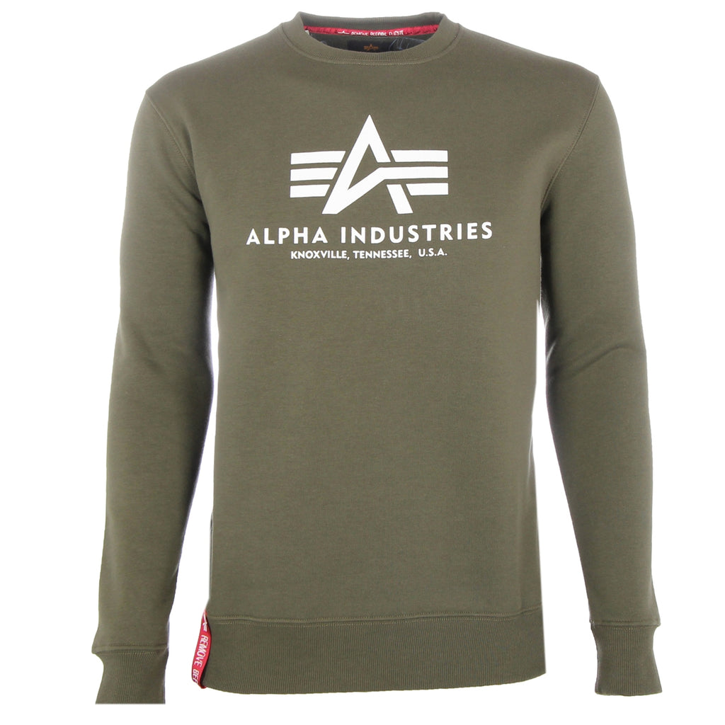 Alpha Industries Men's Green Basic Sweater