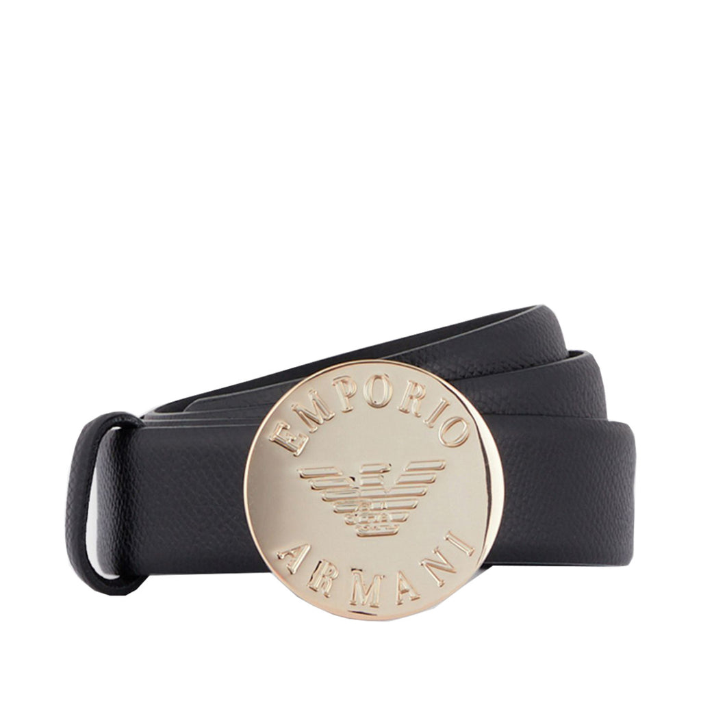 Emporio Armani Women's Black Branded Medallion Belt