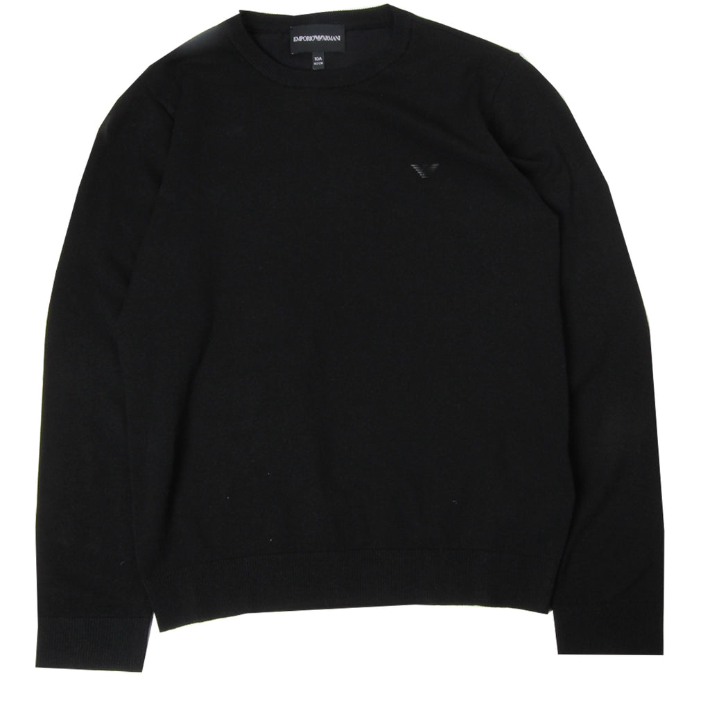 Armani Junior Logo Black Knit Top