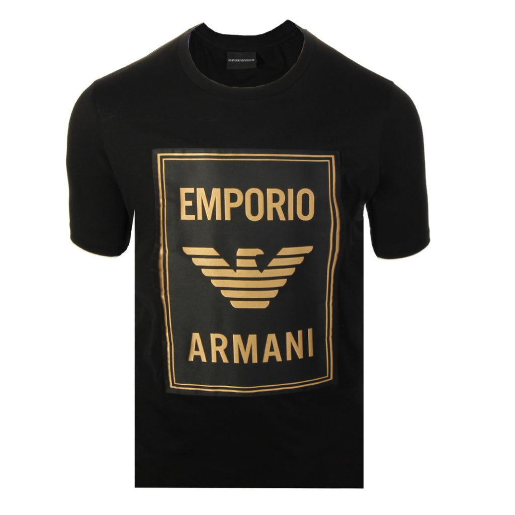 Emporio Armani Black Maxi Patch Logo T-shirt