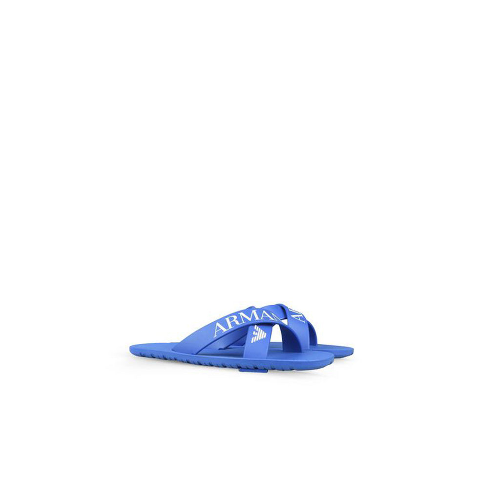 Armani Junior Logo Crossover Blue Slipper