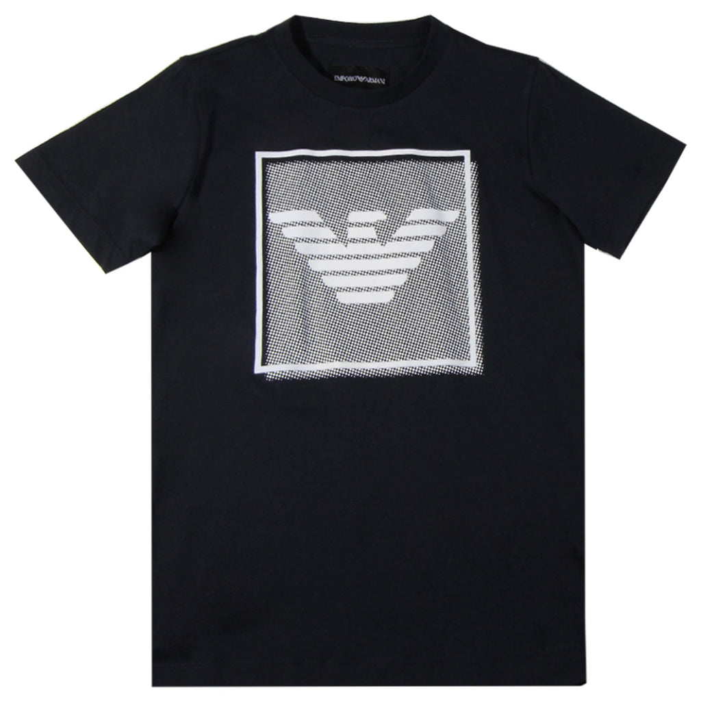 Armani Junior Navy Chest Logo T-shirt