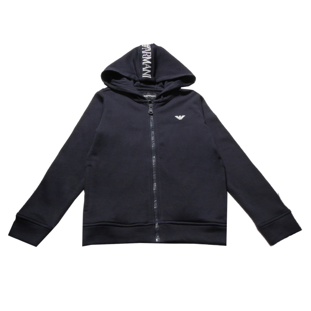 Armani Junior Navy Chest Logo Hoodie
