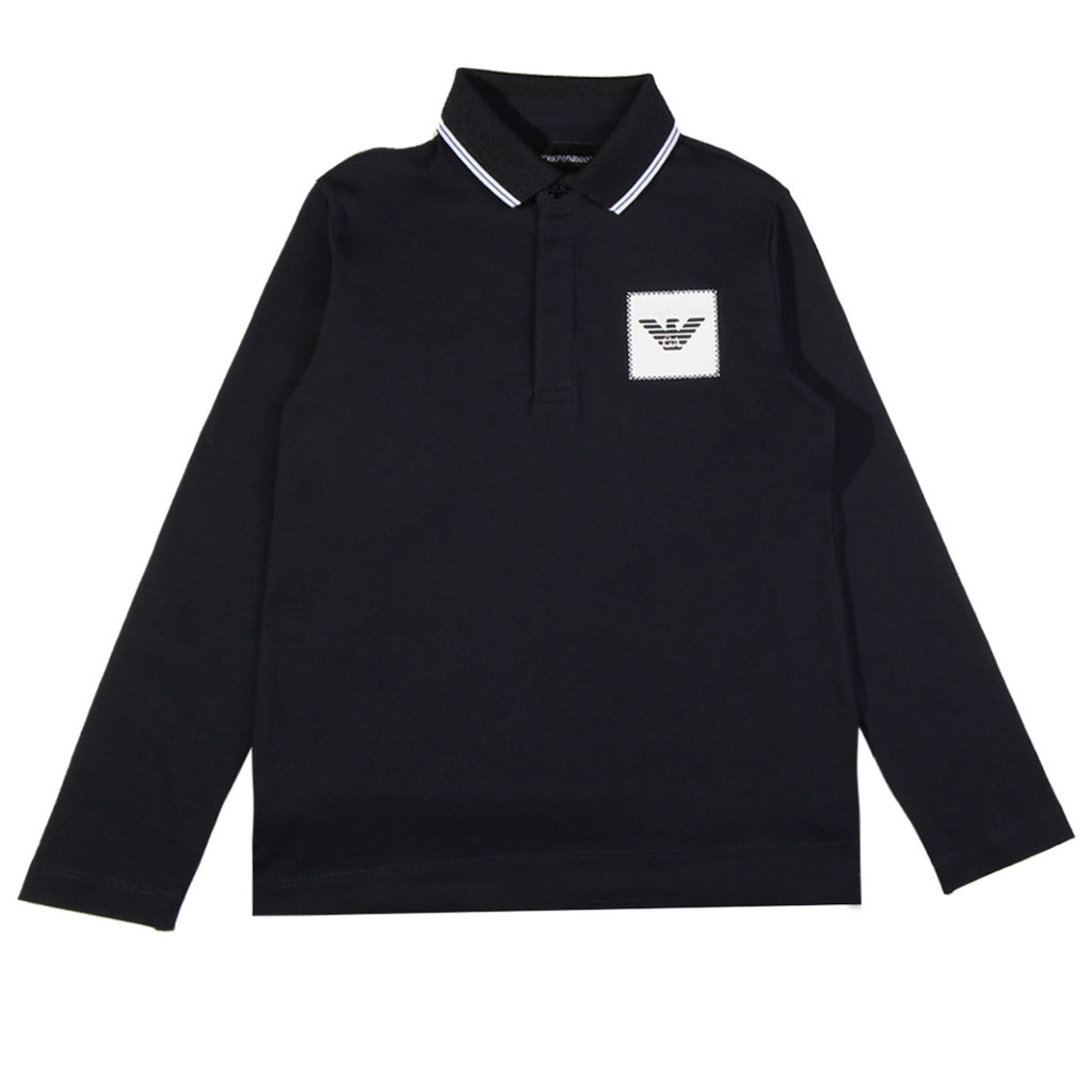 Armani Junior Blue Long Sleeved Polo Shirt