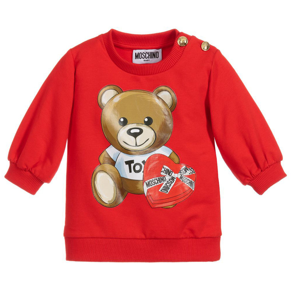 Moschino Baby Red Chocolate Box Teddy Fleece Dress