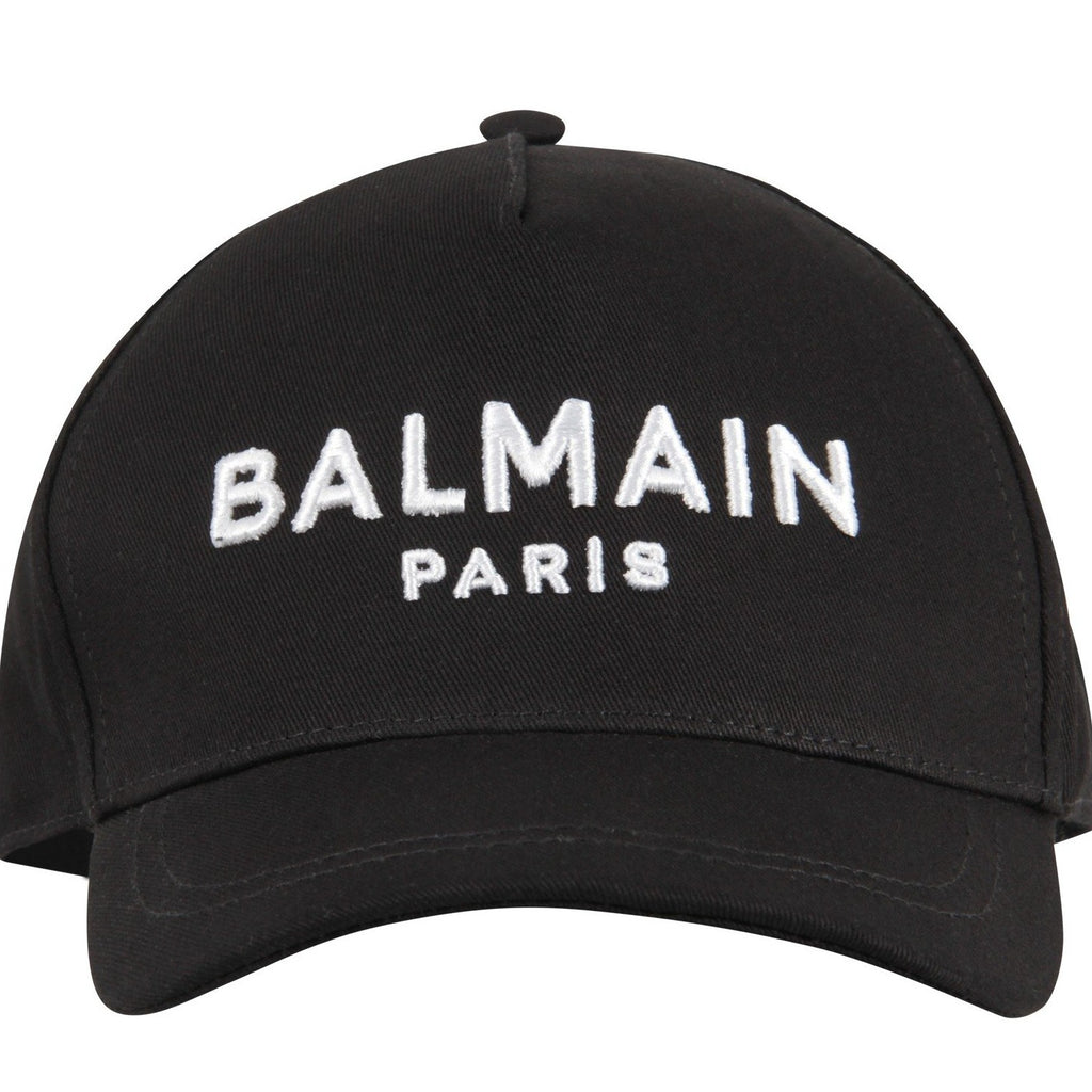 Balmain Black Kids Hat With Logo