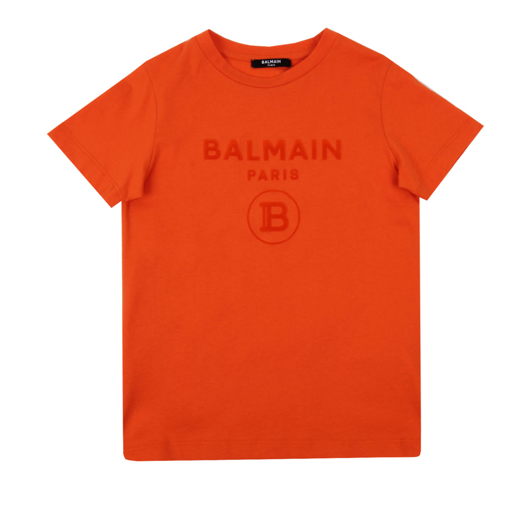 Balmain Paris Kids Velour Logo T-shirt