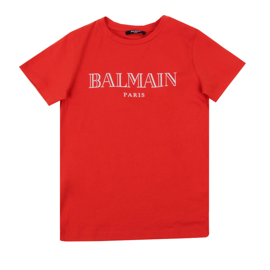 Balmain Paris Kids White and Red Logo T-shirt