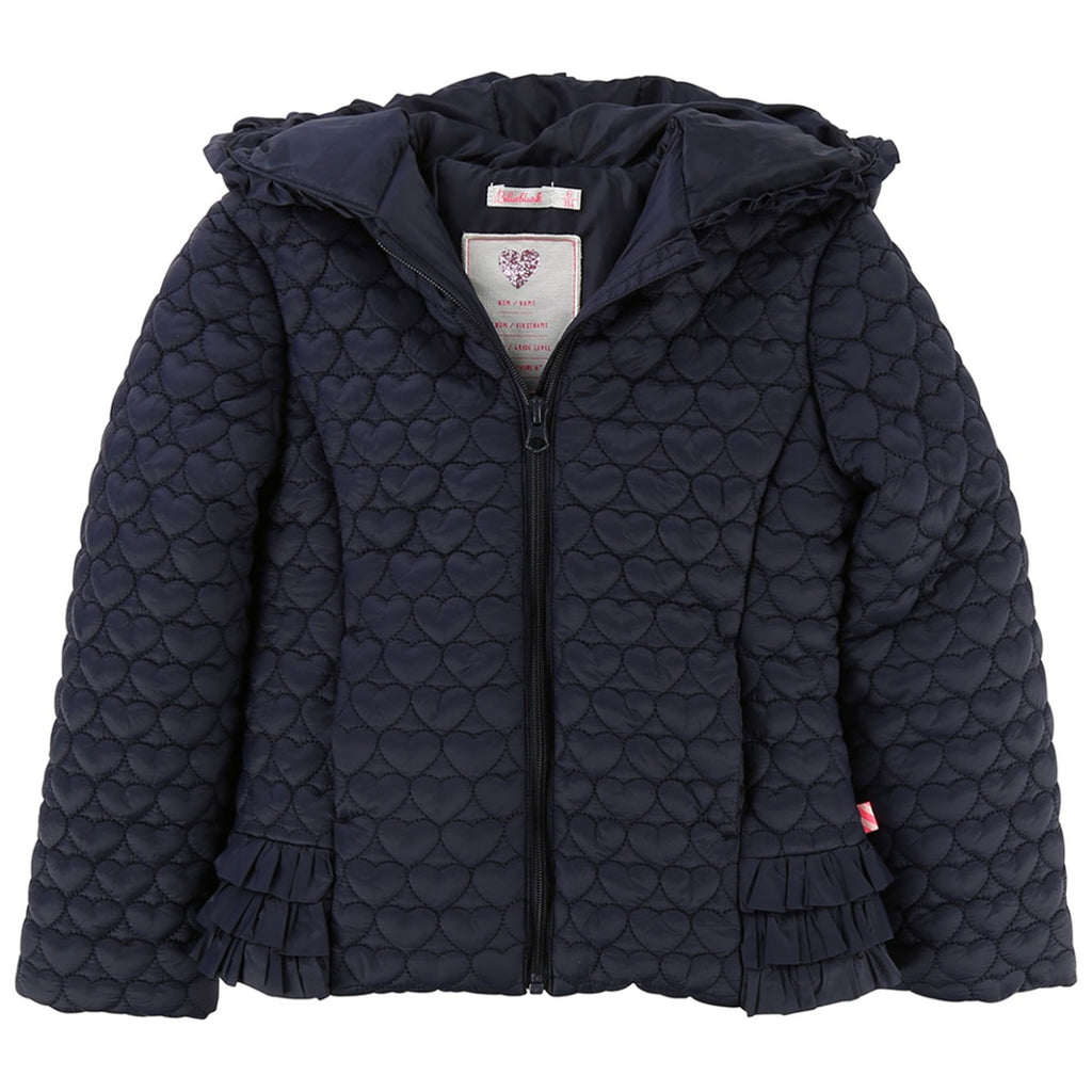 Billieblush Quilted Heart Pattern Navy Jacket