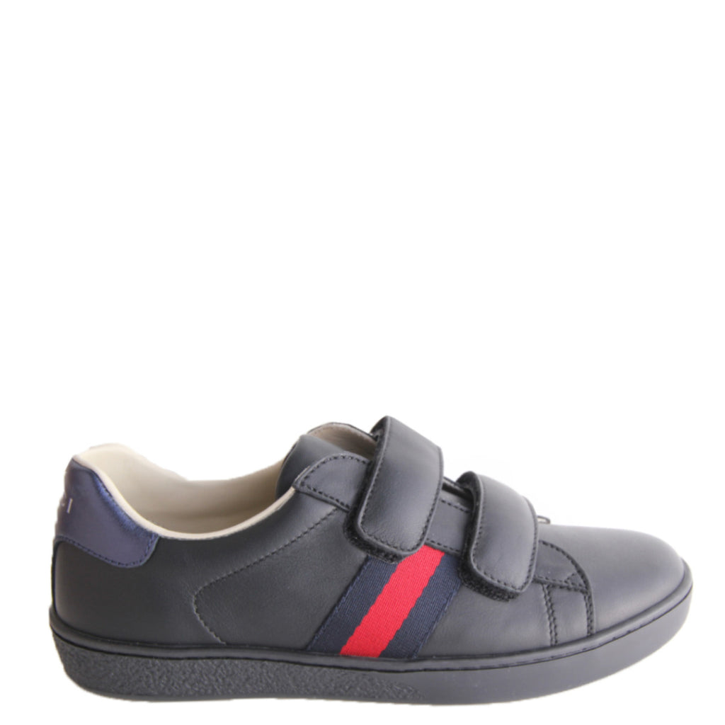 Gucci Kids Black Leather Web Trainers