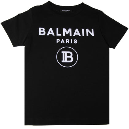 Balmain Paris Black and White Logo T-Shirt