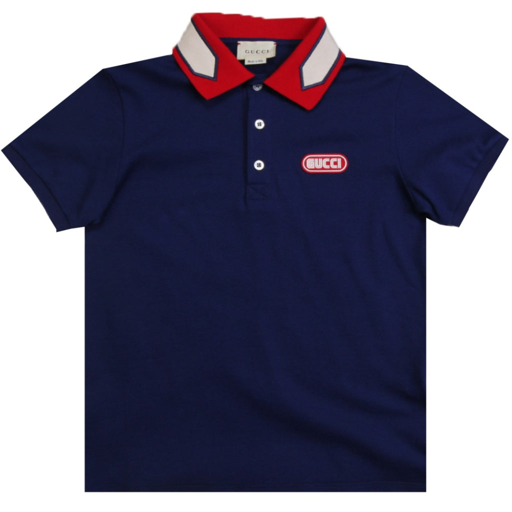 Gucci Kids Navy Polo With Gucci Patch