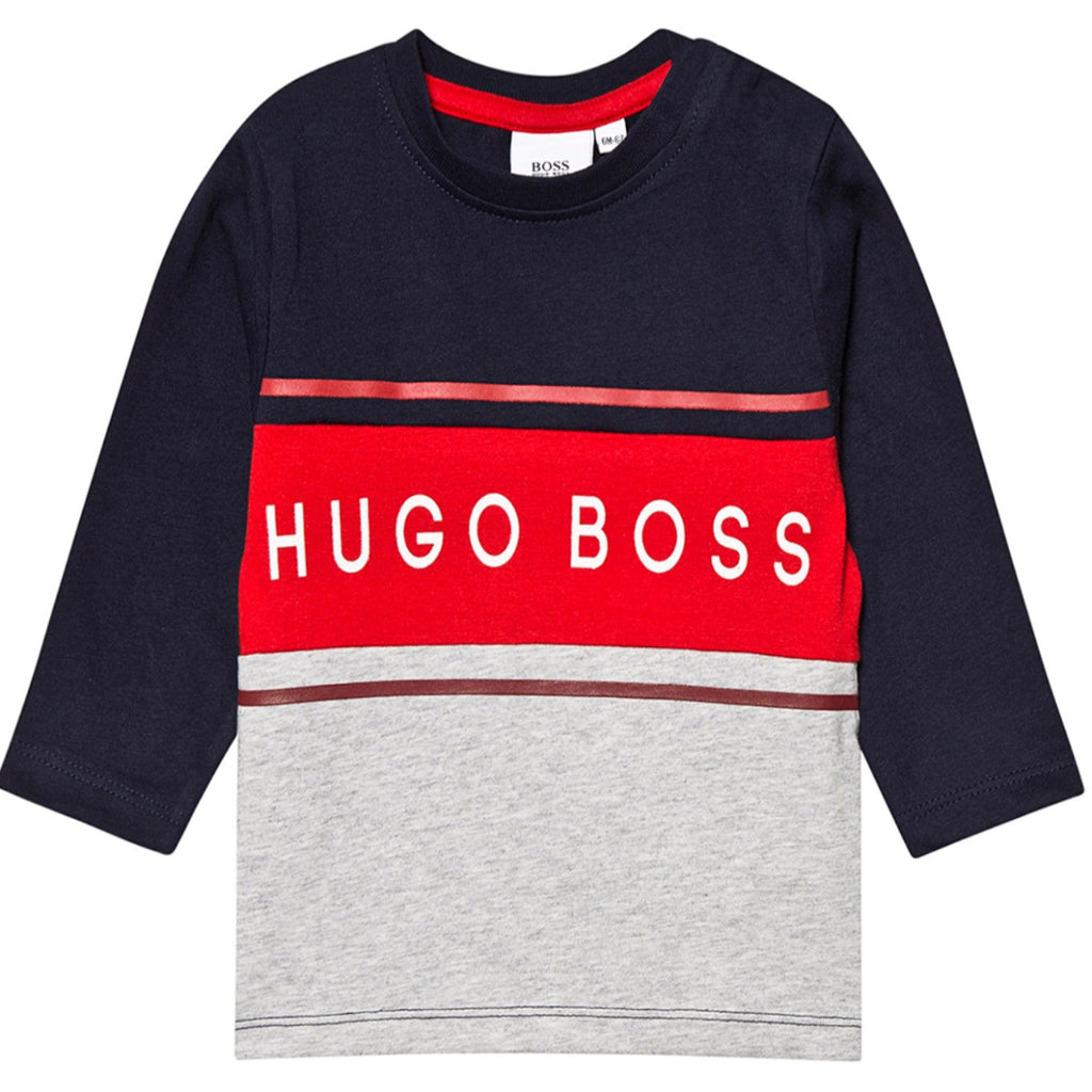Hugo Boss Kids Navy Long Sleeved T-Shirt