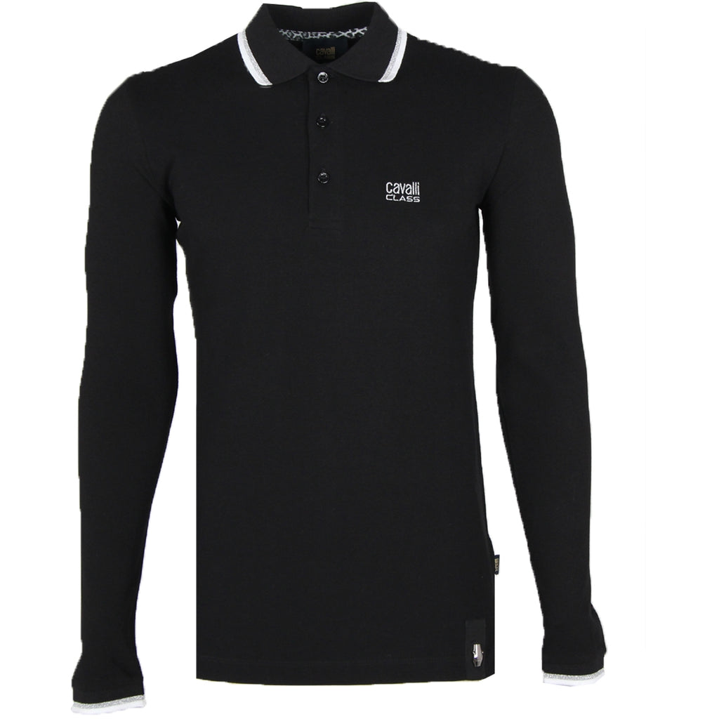 Cavalli Class Black Embroidered Logo Long Sleeve Polo Shirt