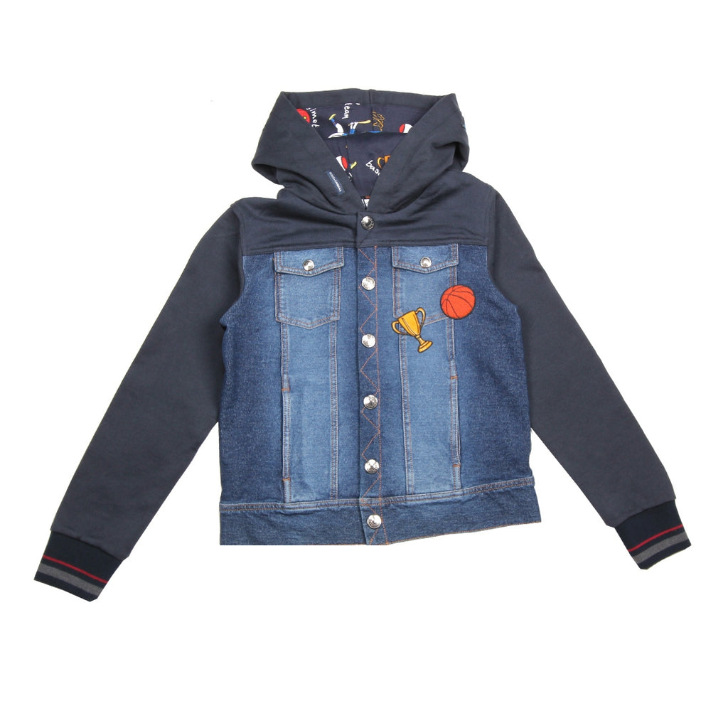 Dolce & Gabbana Kids Sports Denim Hooded Jacket