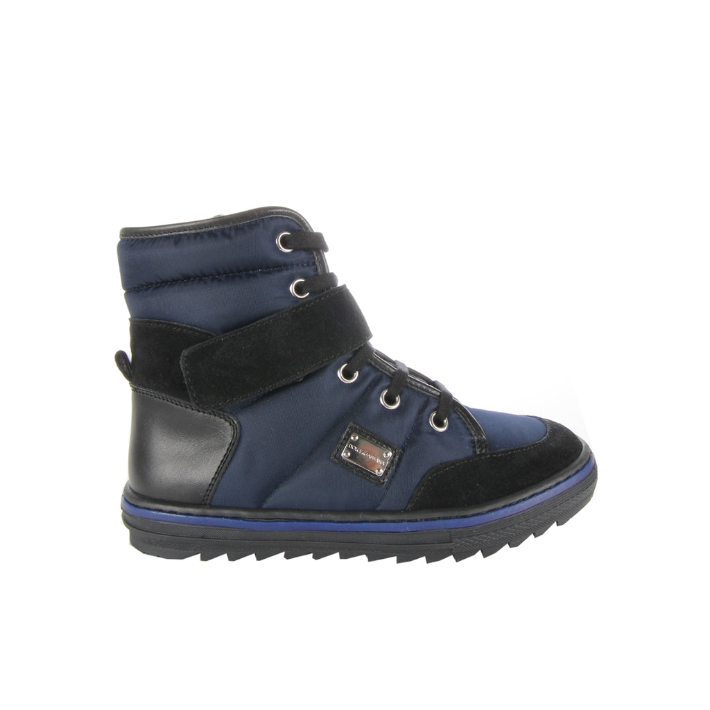 Dolce & Gabbana Kids Blue Leather Snow Boots