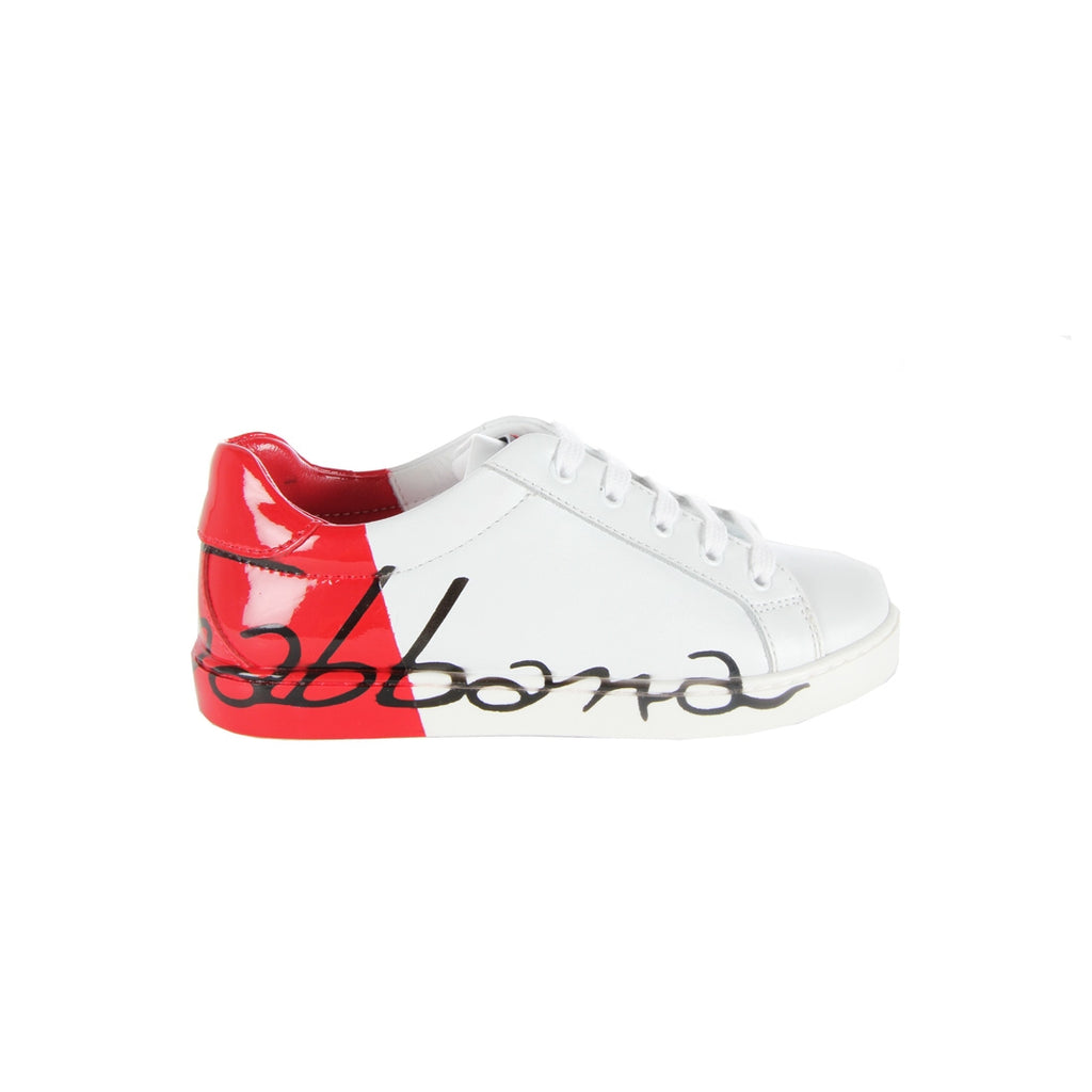Dolce & Gabbana Kids Red Heel White Trainers
