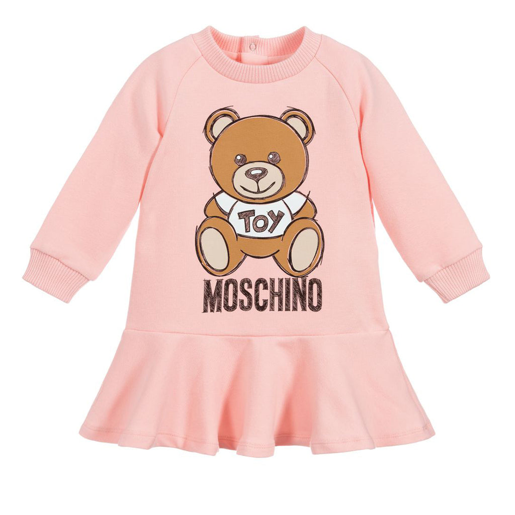Moschino Baby Pink Teddy Bear Fleece Dress