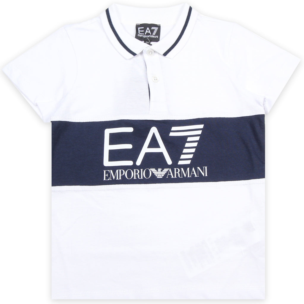 EA7 Junior White Print Logo Polo Shirt