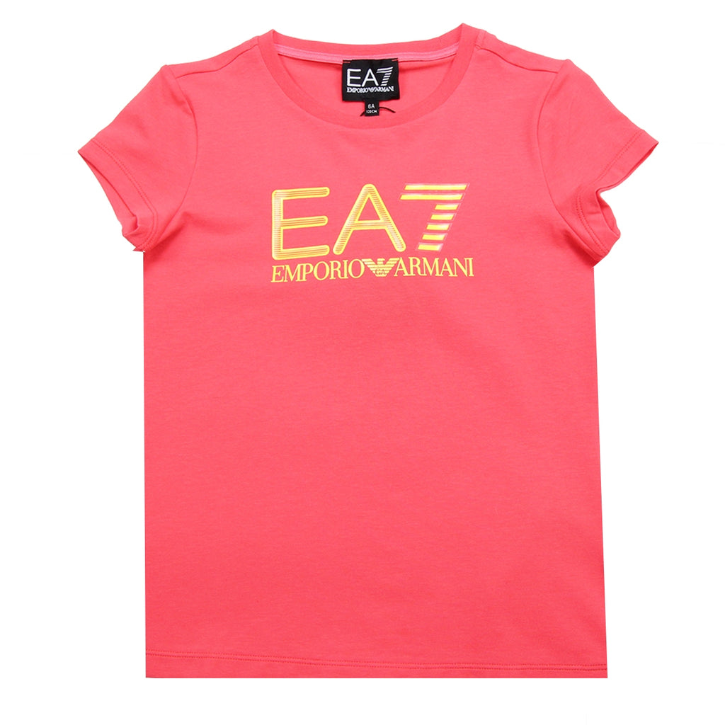 EA7 Girls Pink Chest Logo T-Shirt