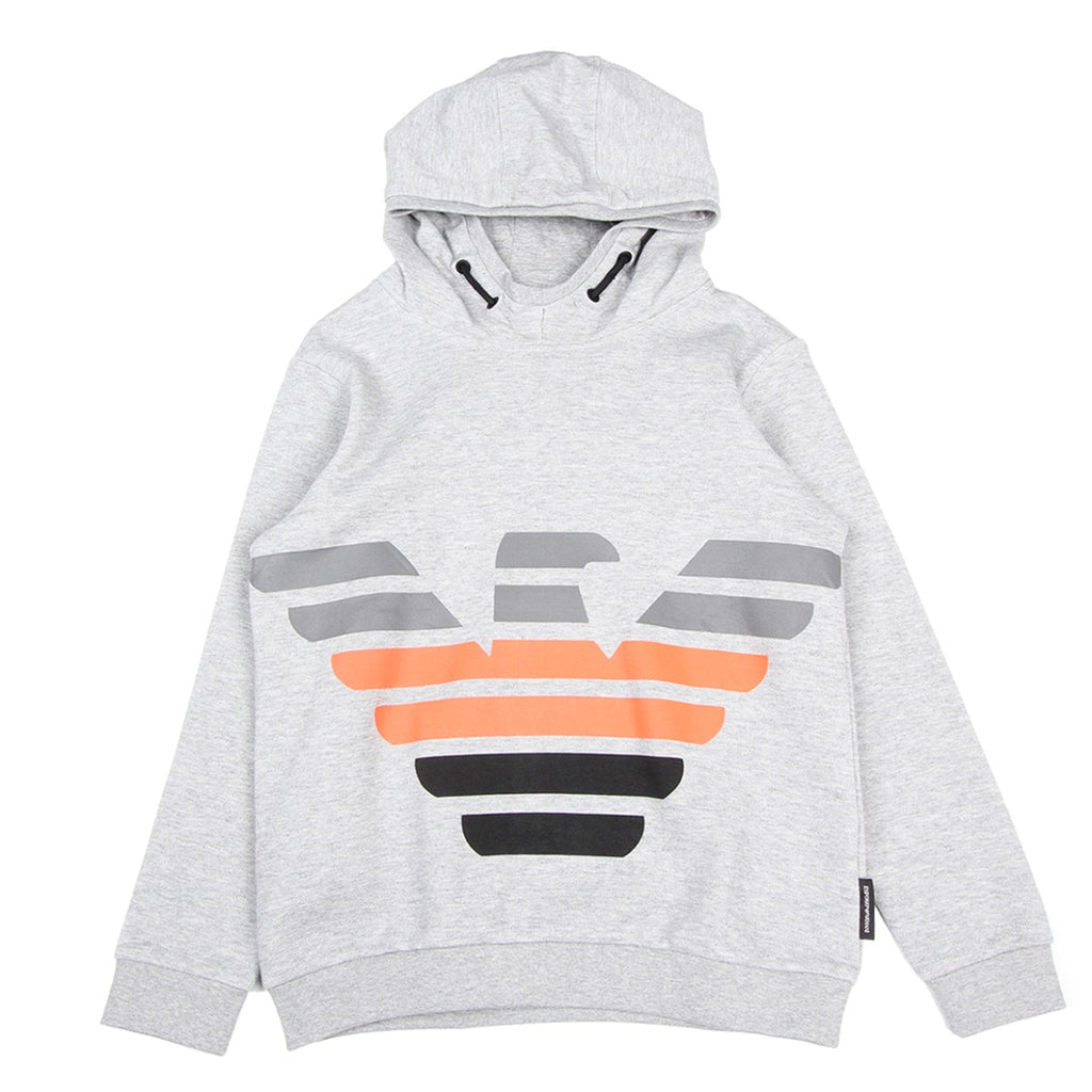 Armani Junior Eagle Logo Printed Grey Hoodie