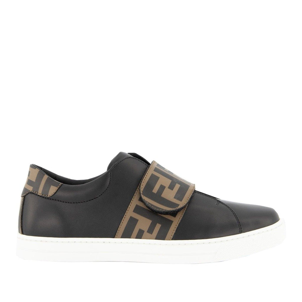 Fendi Junior Black FF Logo Leather Trainers