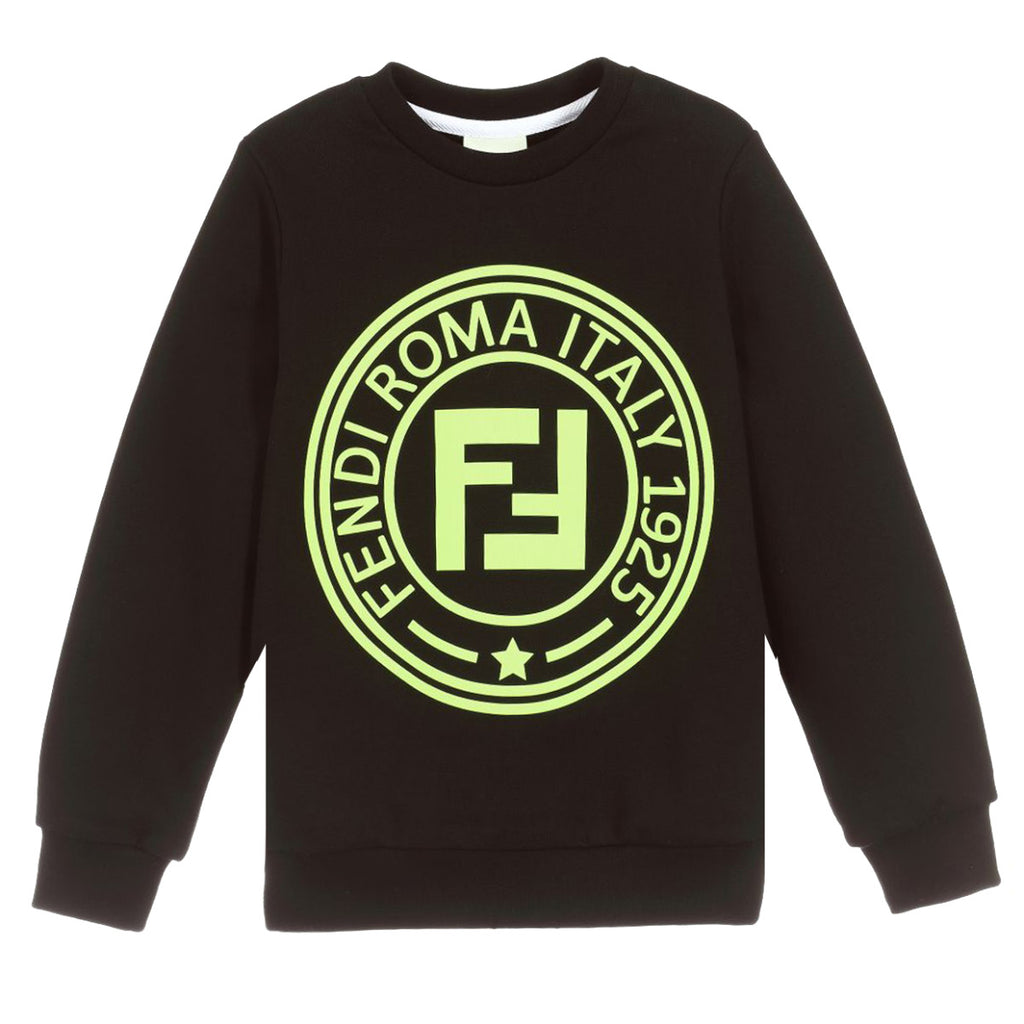 Fendi Junior Black Roma Stamp Sweatshirt