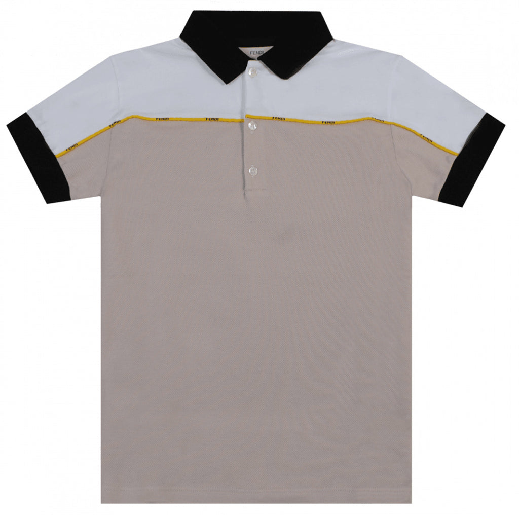 Fendi Junior Beige Cotton Polo Shirt