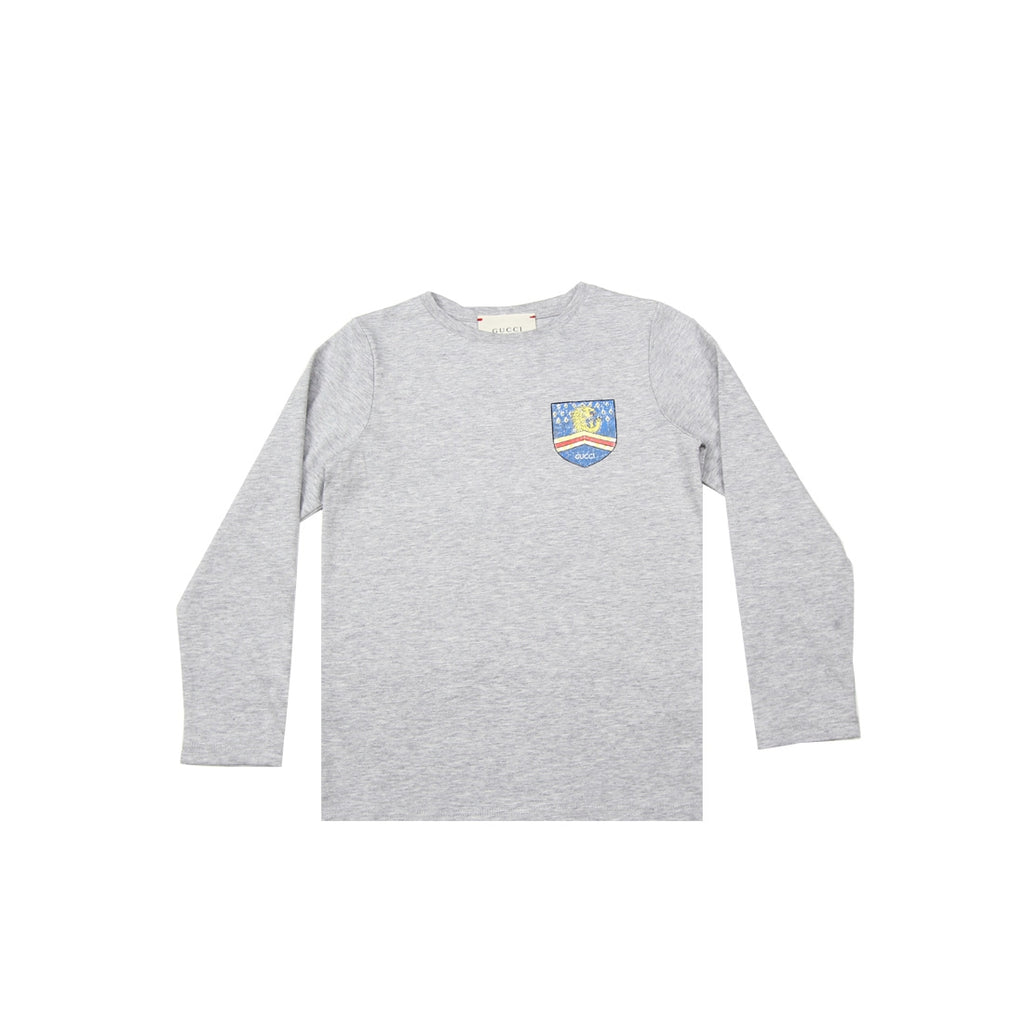 Gucci Kids Lion Chest Logo Grey Top