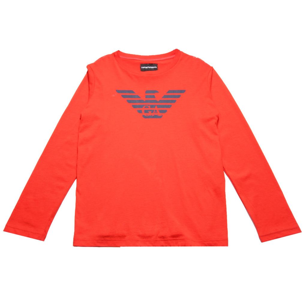 Armani Junior Red Long Sleeved T-shirt