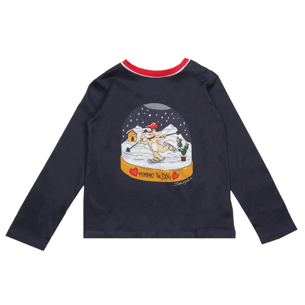 Dolce & Gabbana Baby Mimmo the Dog Navy Top