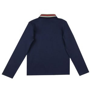 Gucci Kids Navy Long Sleeve Polo Shirt