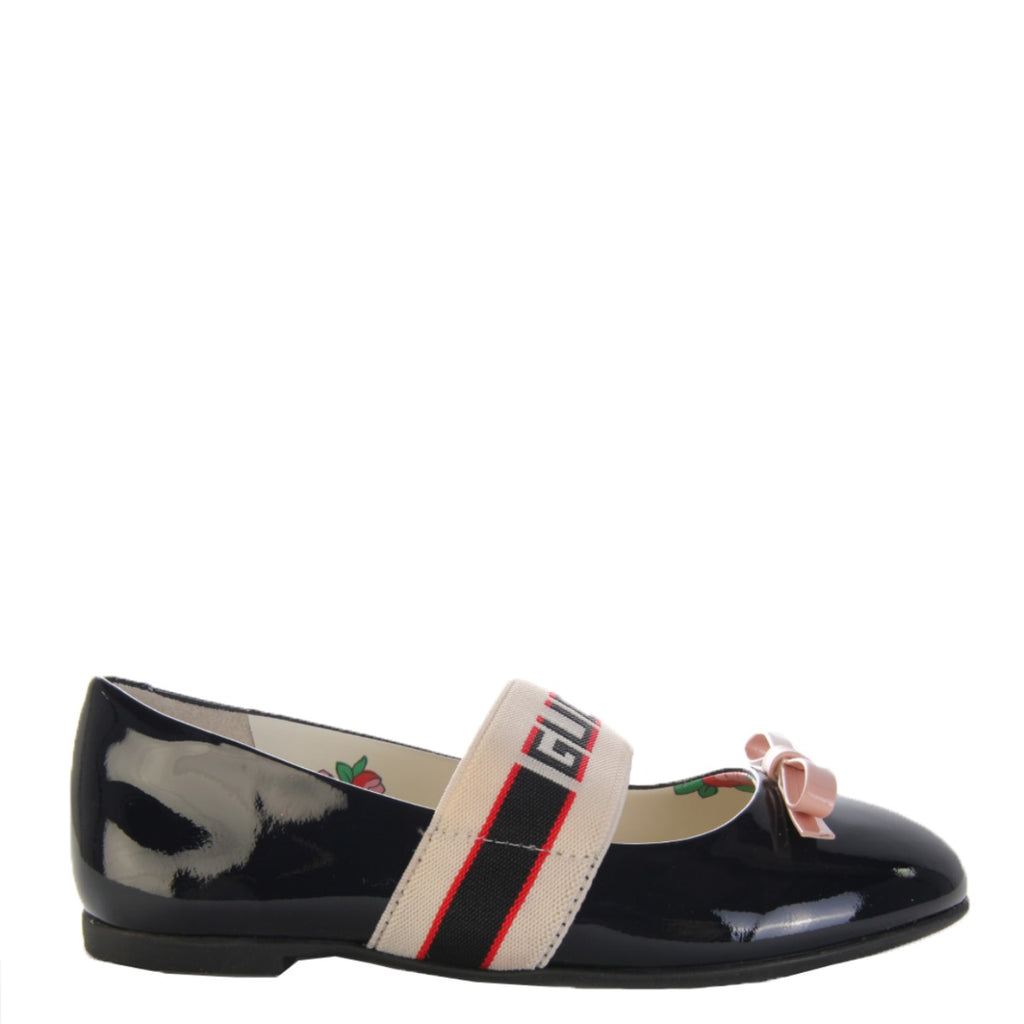 Gucci Kids Patent Leather Ballet Flat With Gucci Stripe