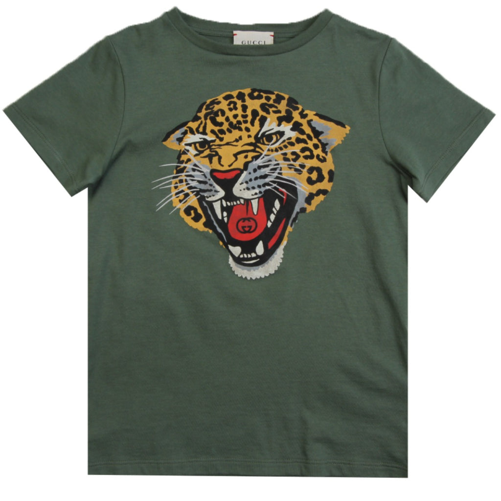 Gucci Kids Boys Khaki Tiger Print T-shirt