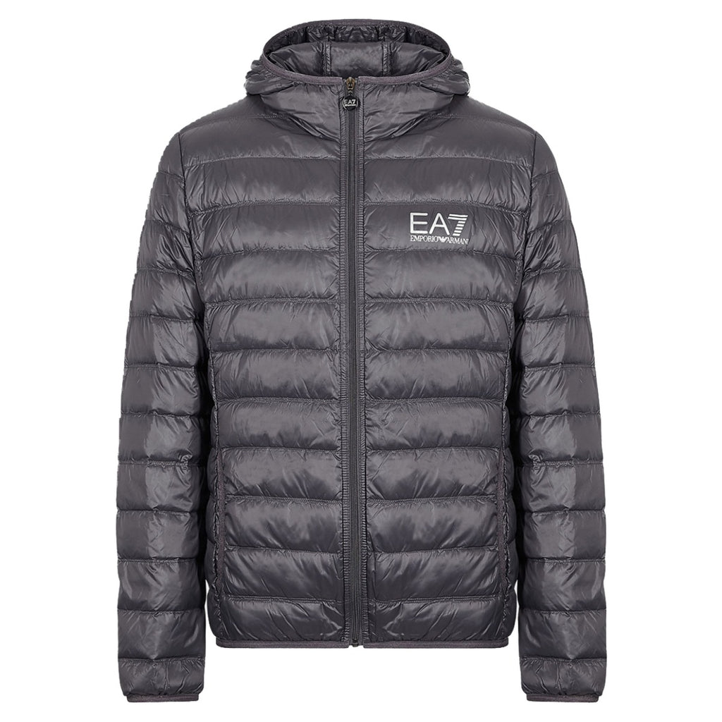 EA7 Grey Technical Fabric Down Jacket