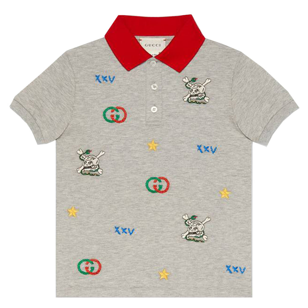 Gucci Kids Grey Embroidered Polo Shirt