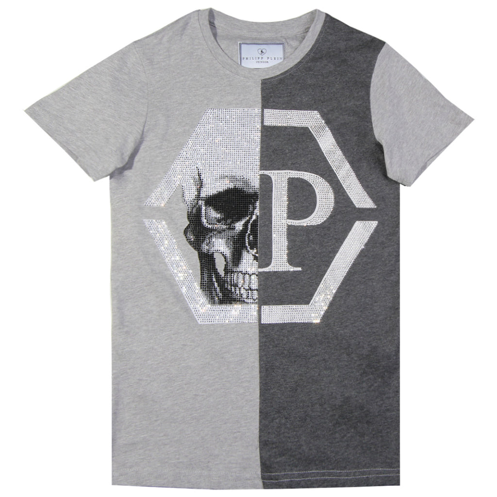 Philipp Plein Junior Grey Embellished Logo T-shirt