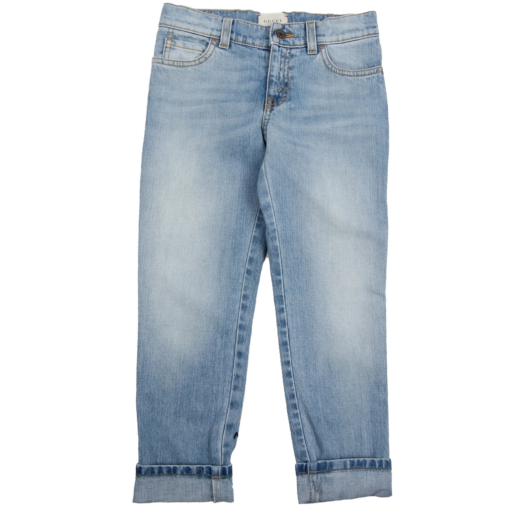 Gucci Kids I Love Monsters Light Denim Jeans
