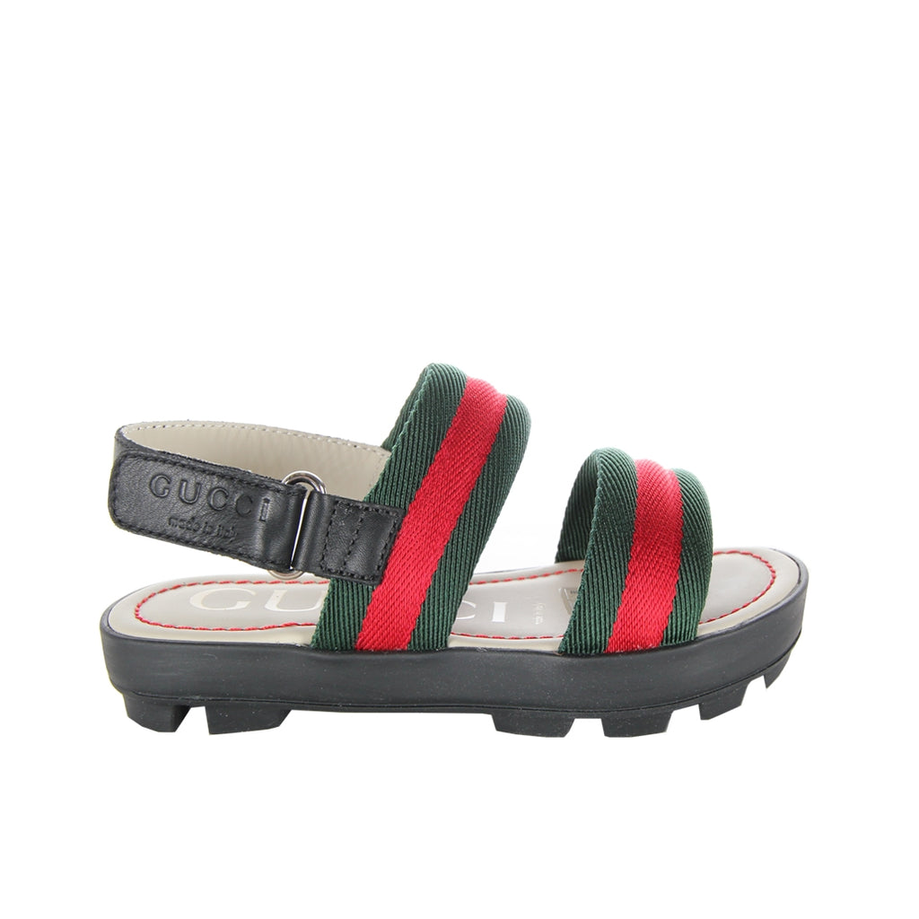 Gucci Kids Leather Web Black Sandals