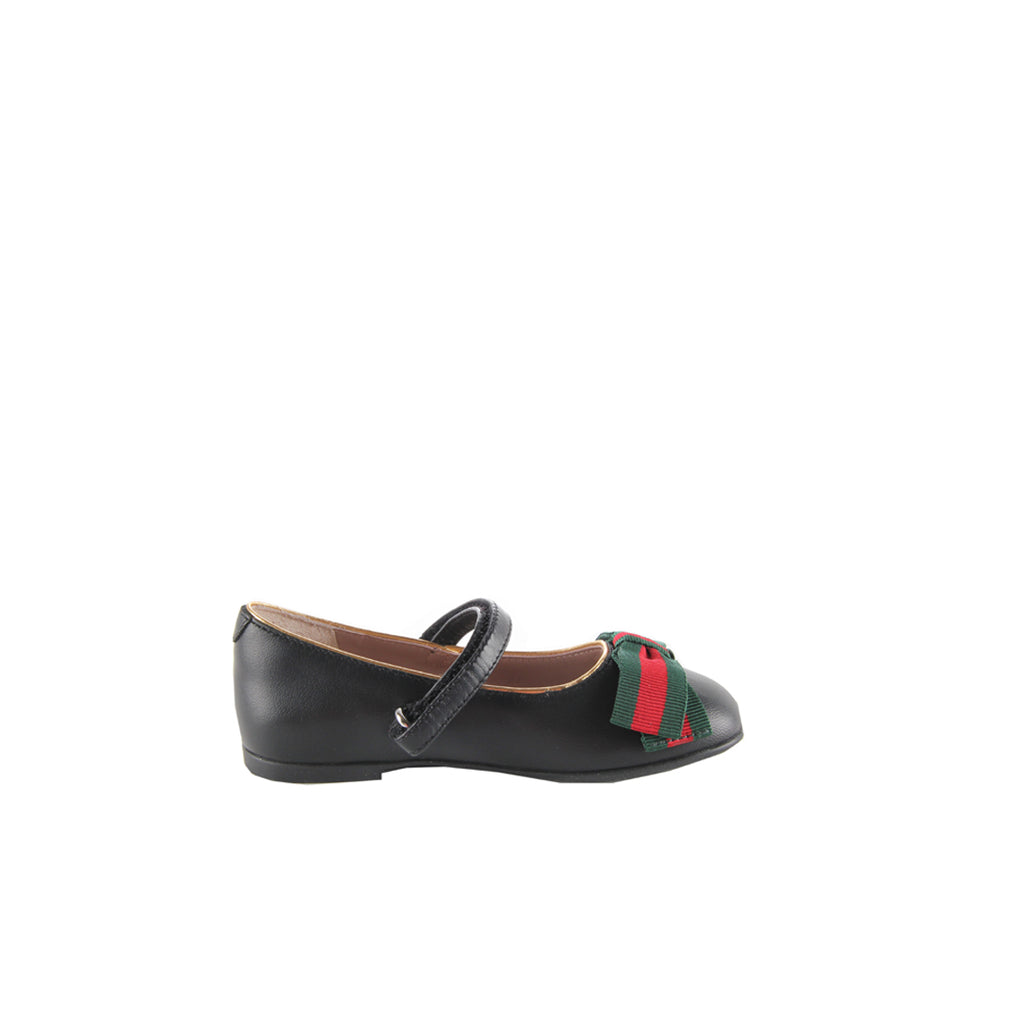 Gucci Baby Girl Black Leather Ballet Flats with Web Bow