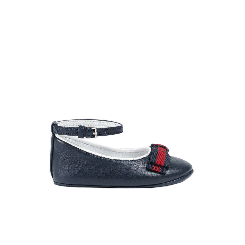 Gucci Baby Girl Navy Ballet Web Flat