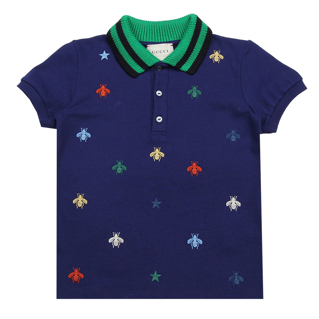 Gucci Baby Bee and Stars Logo Blue Polo Shirt