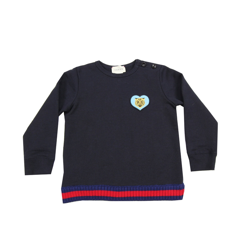 Gucci Baby Lion Heart Navy Pullover Top