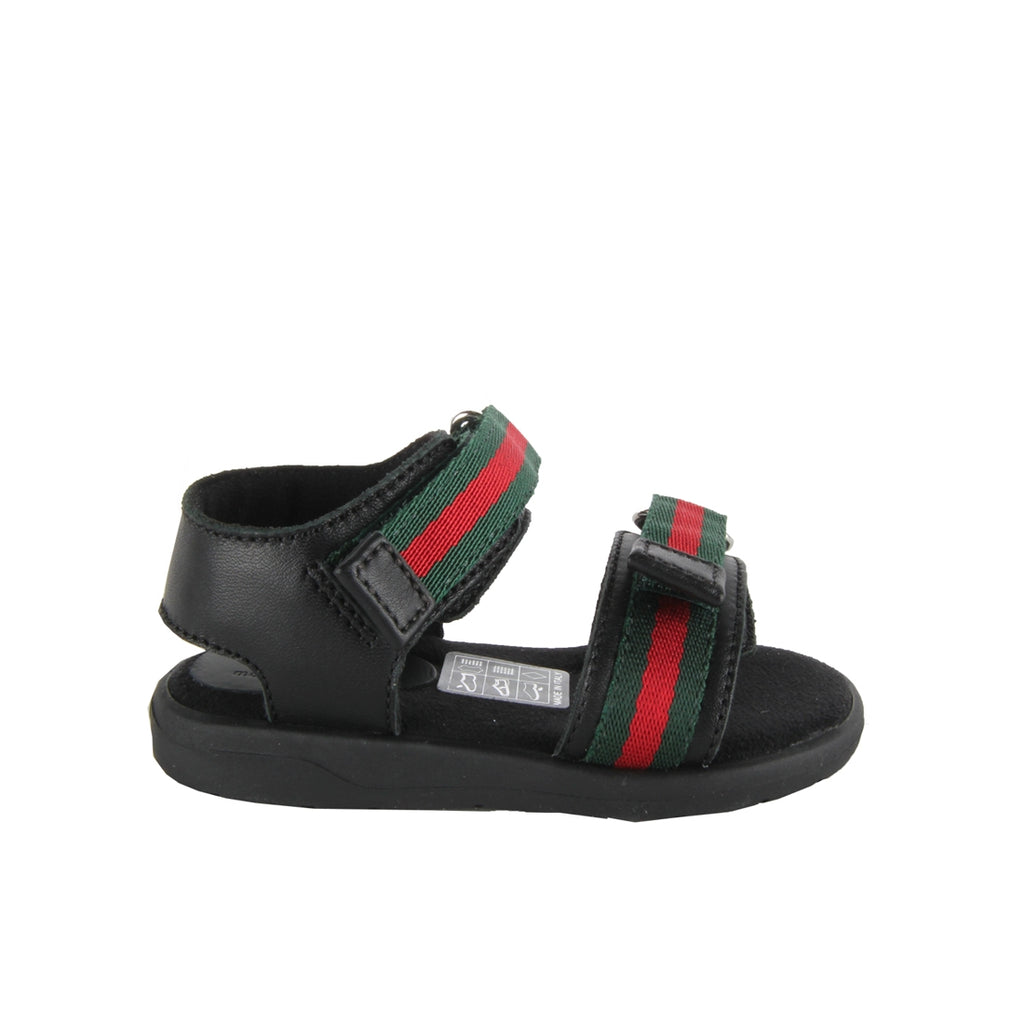 Gucci Baby Black Leather Web Sandals