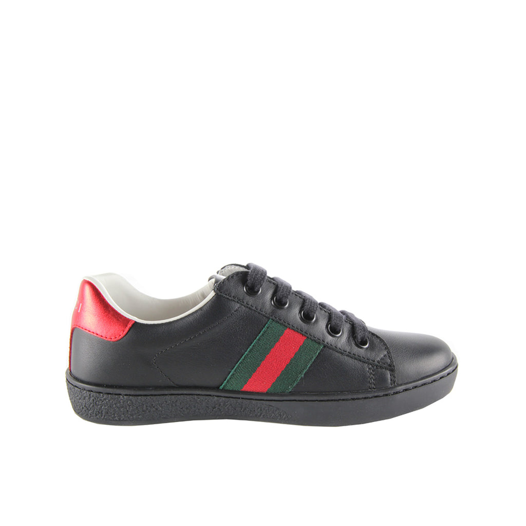 Gucci Kids Black Leather Low Top Sneakers