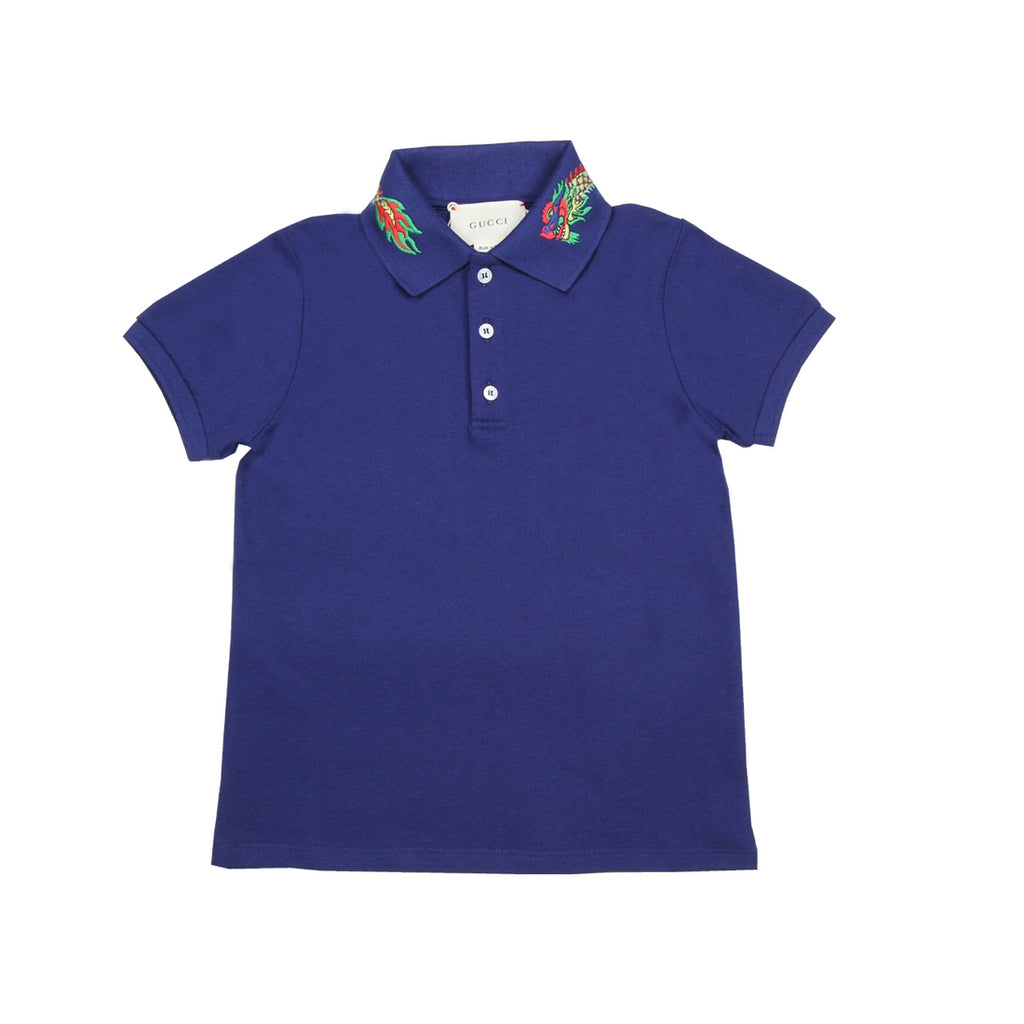 Gucci Kids Dragon Collar Blue Polo Shirt
