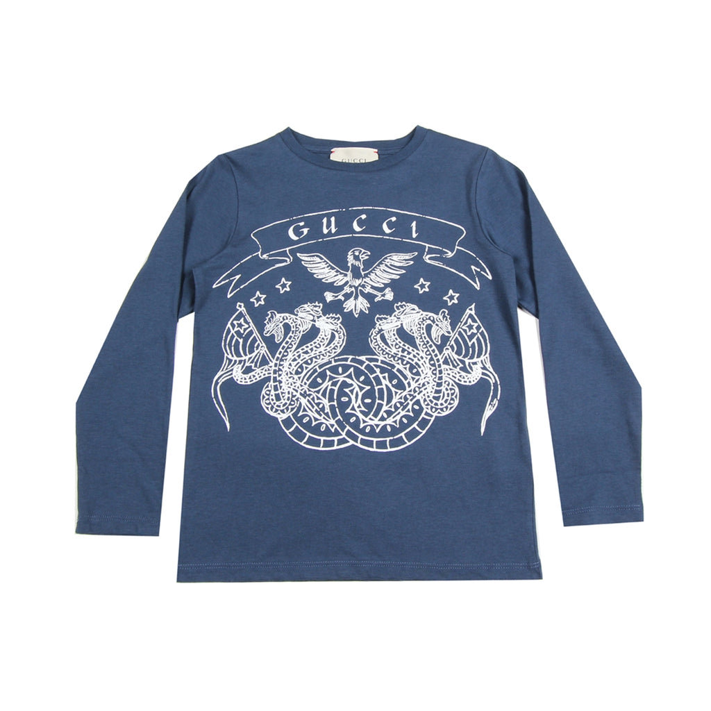 Gucci Kids Dragons & Eagle Print Blue Top