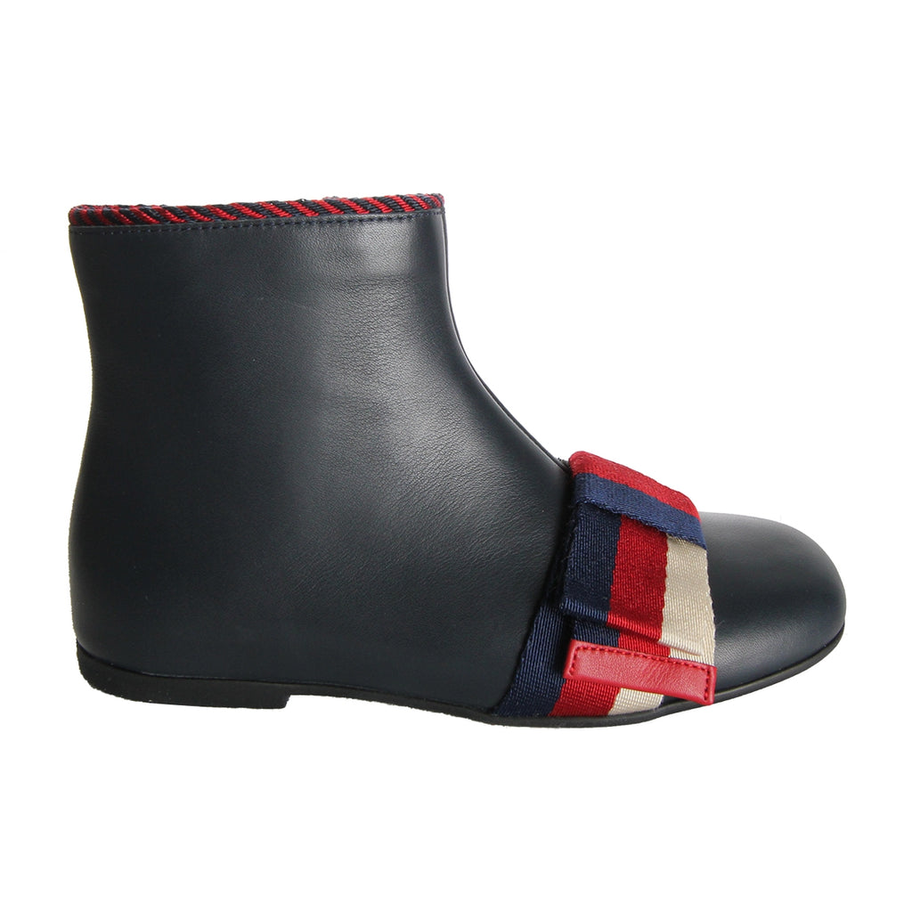 Gucci Girls Navy Leather Bow Ankle Boots