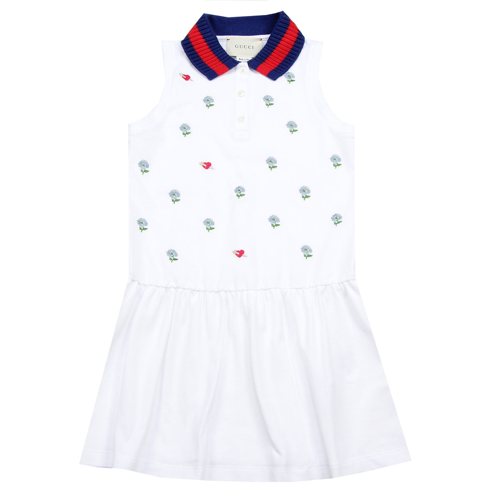 Gucci Girls Embroidered Flower White Dress