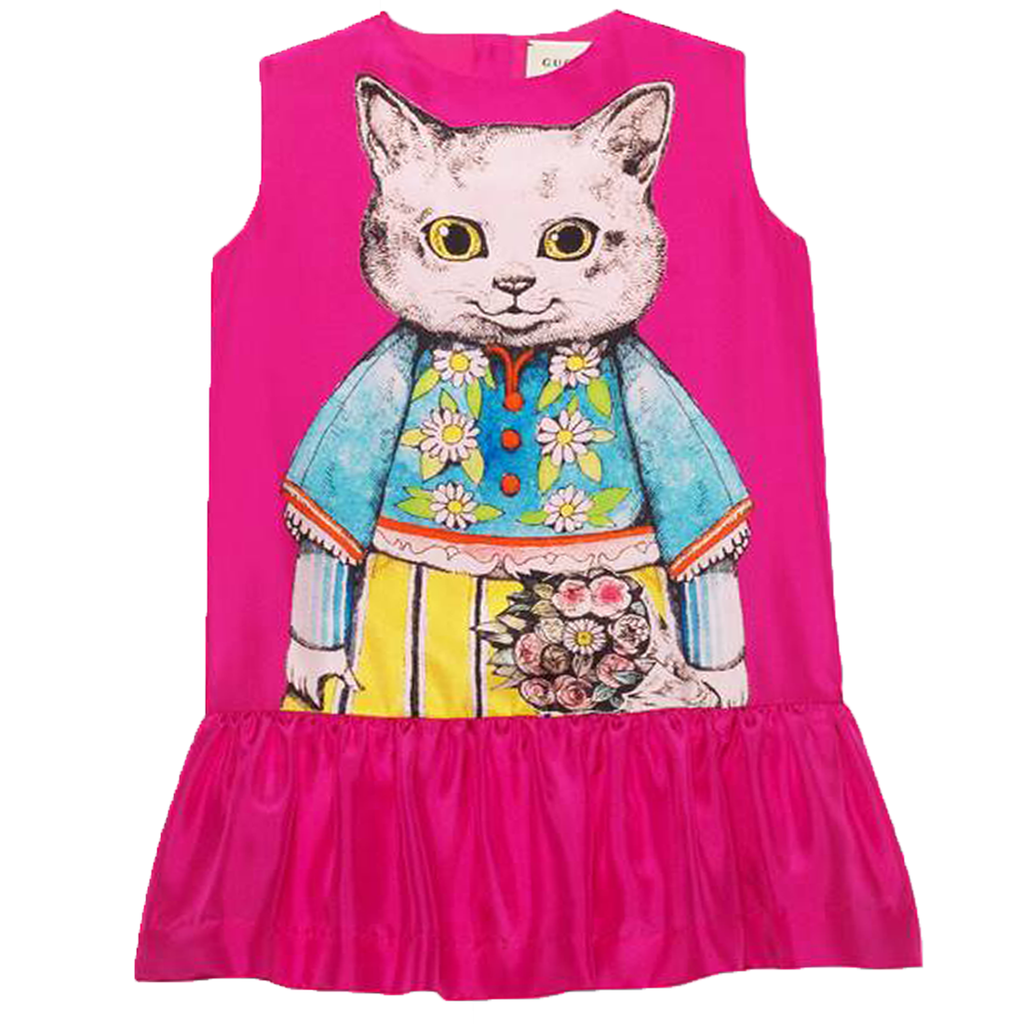 Gucci Girls Kitten Pink Silk Dress
